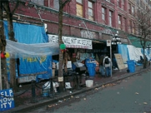 A street view of Downtown Eastside Vancouver, Ontario.
