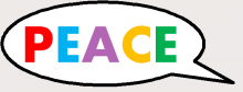 The word Peace in a speech bubble