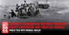 Event poster. Background image of overcrowded boat full of refugees at sea. Overtop of image text describing the event..