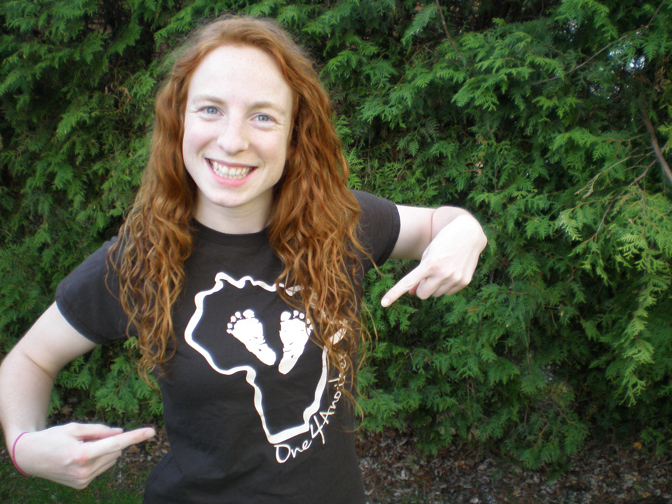 Hilary Sadowsky with One4Another t-shirt.