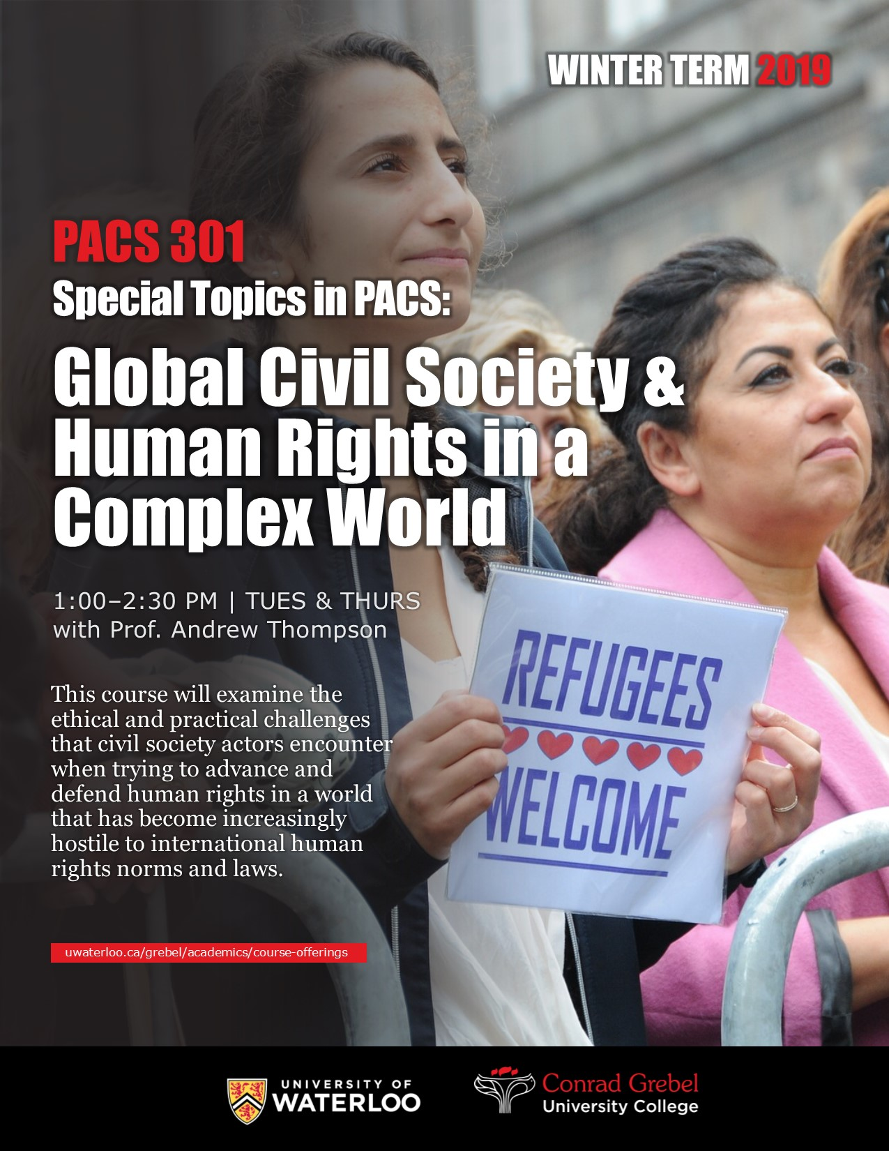 "Poster for PACS 301. Features women holding signs that read ""Refugees welcome."" Also has information about the course."
