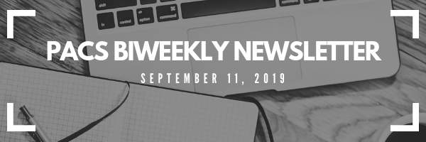 PACS Final newsletter banner: image of a laptop and notepad. White text overtop reads: PACS Biweekly Newsletter Sept.11, 2019