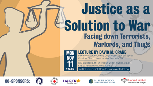 Event poster featuring a silhouette of a person holding scales. On top of image is text of the event details.