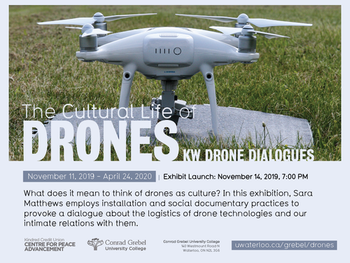 Image of a drone, on top of image is text describing the event details.