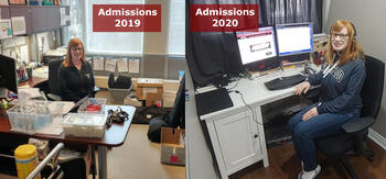 """Two photos of Becky Ewan, one in her office labelled 'Admissions 2019' and one at her work from home computer, """"Admissions 2020'"""