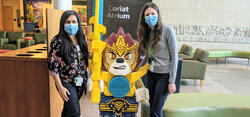 Danielle and Carly in the hospital wearing masks
