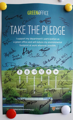Green Office Pledge Poster with signatures from staff and faculty