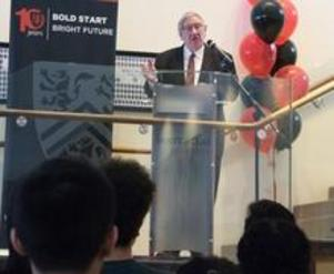 George Dixon addressing audience at launch event