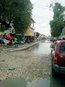 flooded roads in Haitian streets
