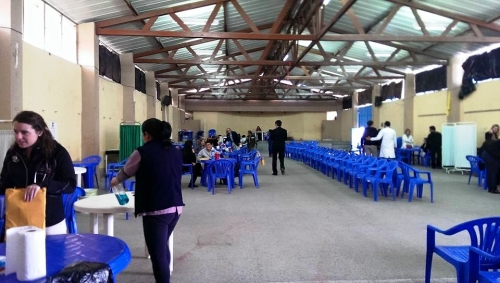 Clinic space in large warehouse structure where students volunteered