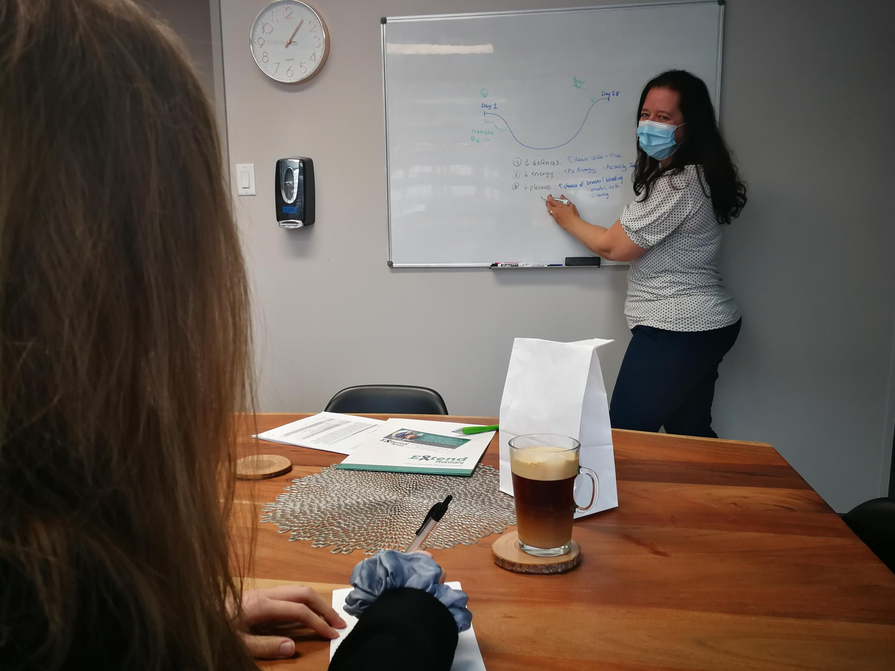 Tina Crosbie at a whiteboard drawing an explanation for someone