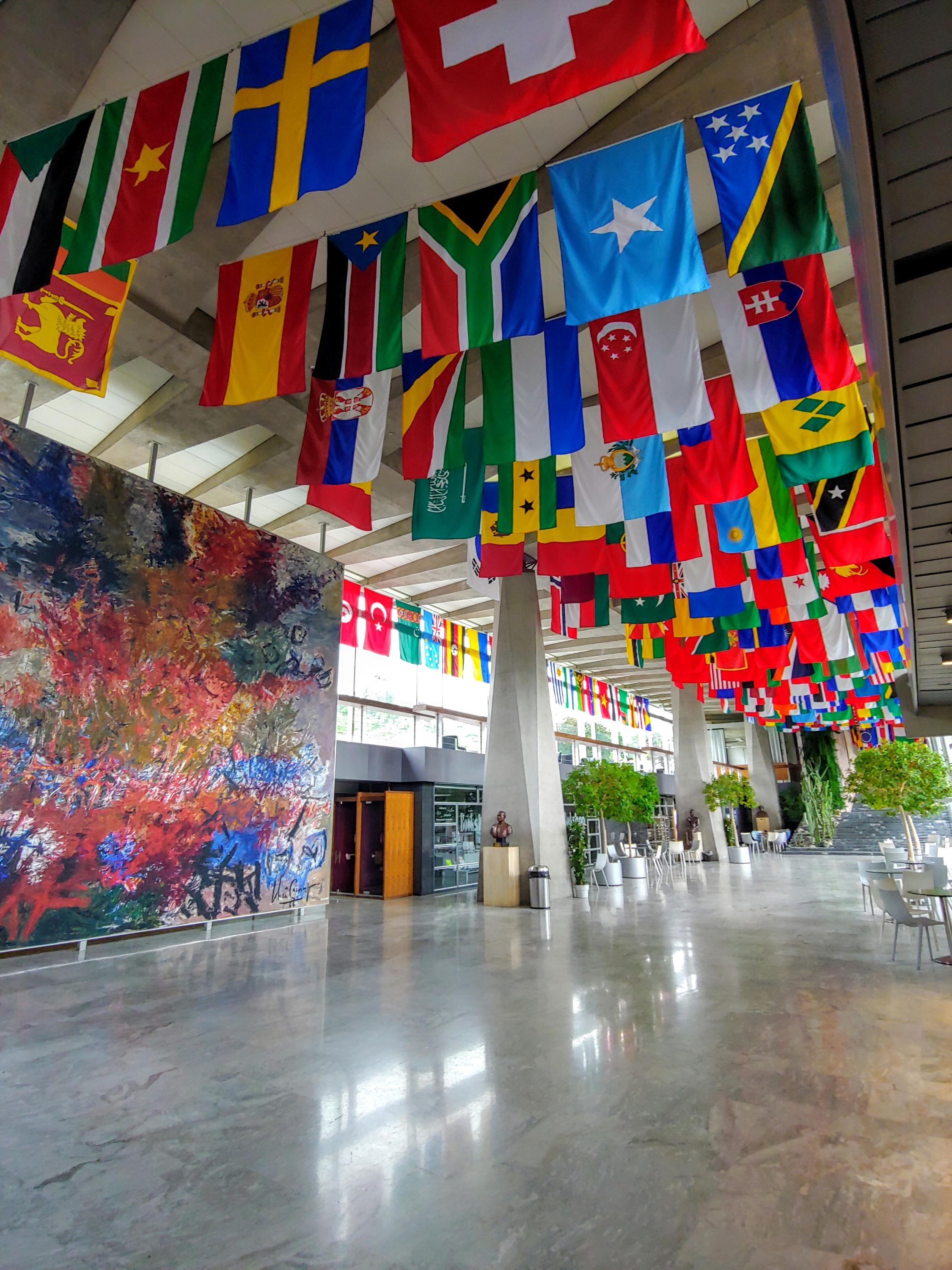 WHO lobby with flags of many countries hanging from ceiling