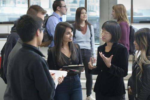 Prof Feng Chang chatting with students