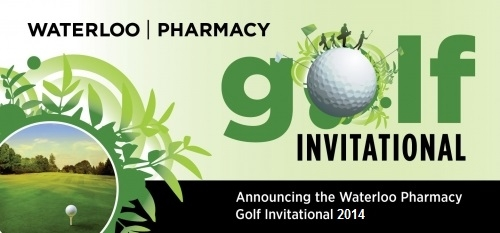 Waterloo Pharmacy Golf Invitiation announcement poster.