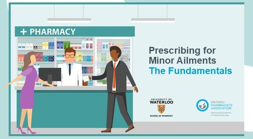 Animated image of pharmacist helping two patients in a pharmacy