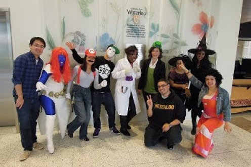 Grad students dressed up for Halloween