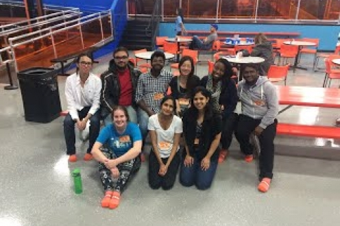 grad students at the trampoline house
