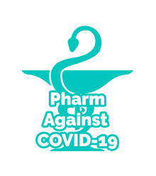 Pharm Against COVID-19 Logo featuring a snake curling around a cup