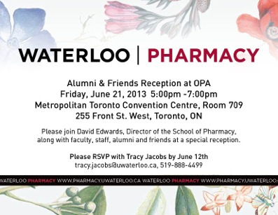 Waterloo Pharmacy Ontario Pharmacists' Association Conference Invitation