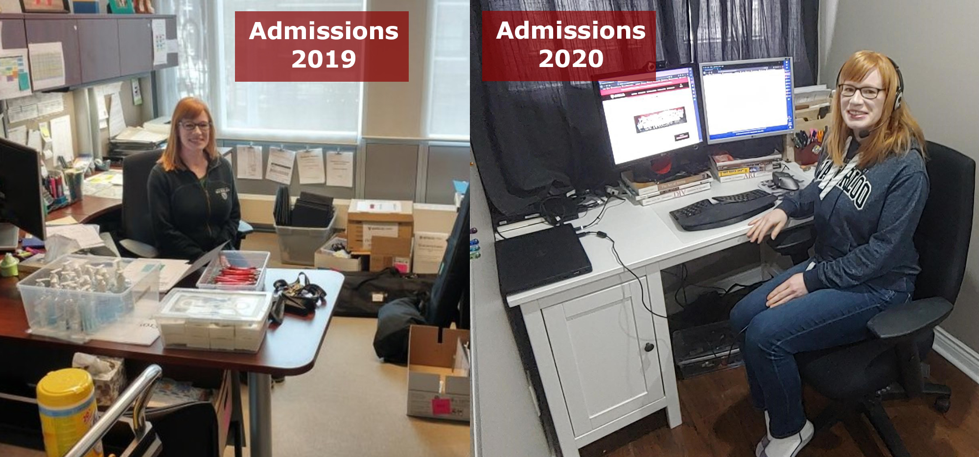 "Two photos of Becky Ewan, one in her office labelled 'Admissions 2019' and one at her work from home computer, ""Admissions 2020'"