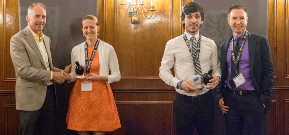 Joanna Ditouras and Jeff Rodrigues receiving their awards