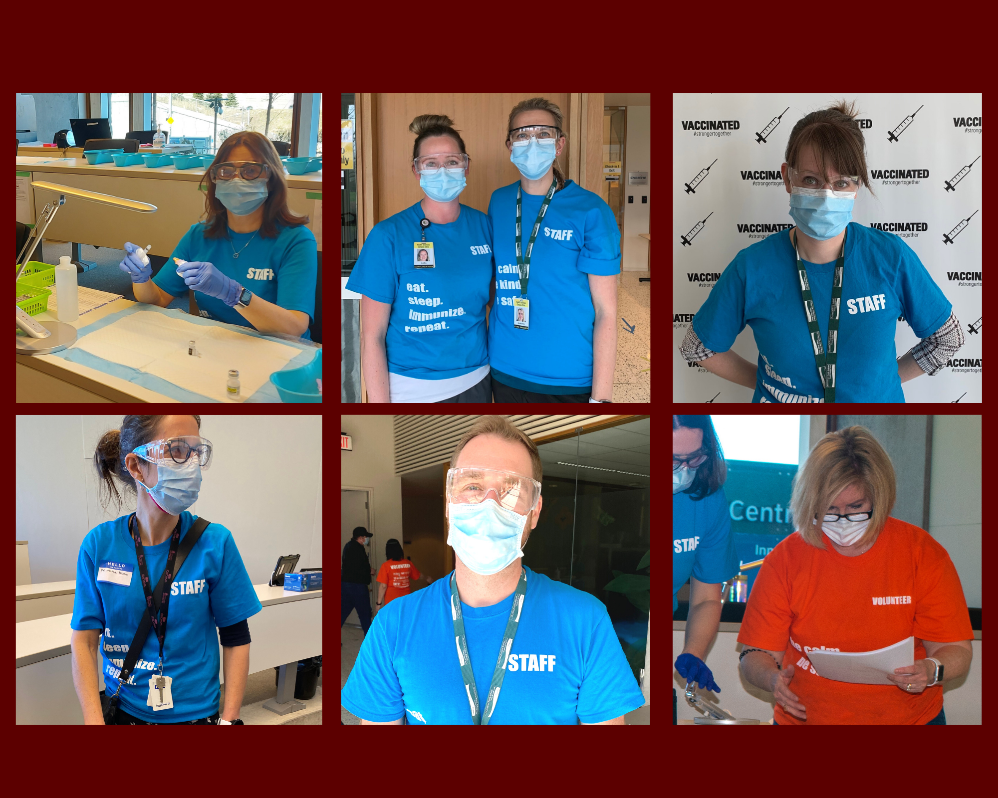 Members of the clinic team wearing staff and volunteer shirts and PPE