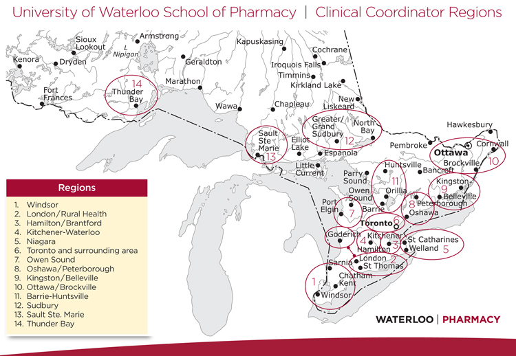 clinical coordinator regions map