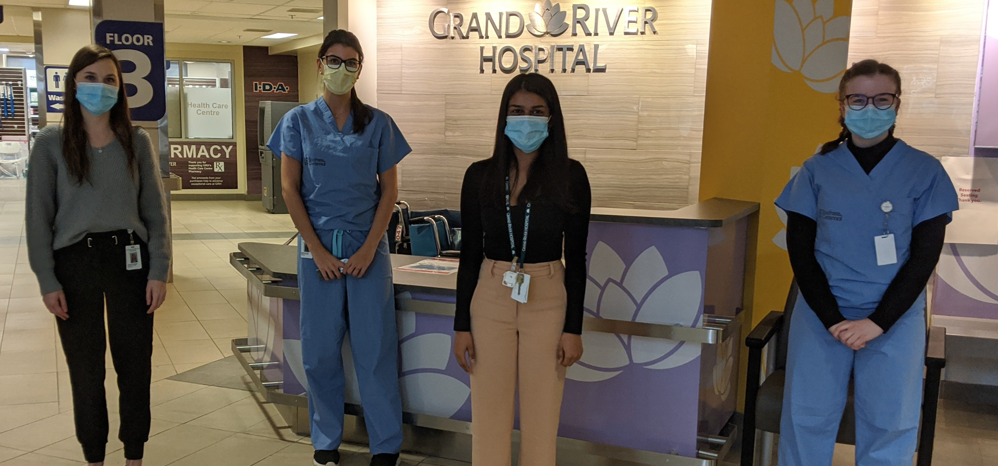 Students working at Grand River Hospital. Left to right: Lauren Thompson (Oncology), Melissa Garellek (Emergency Department), an