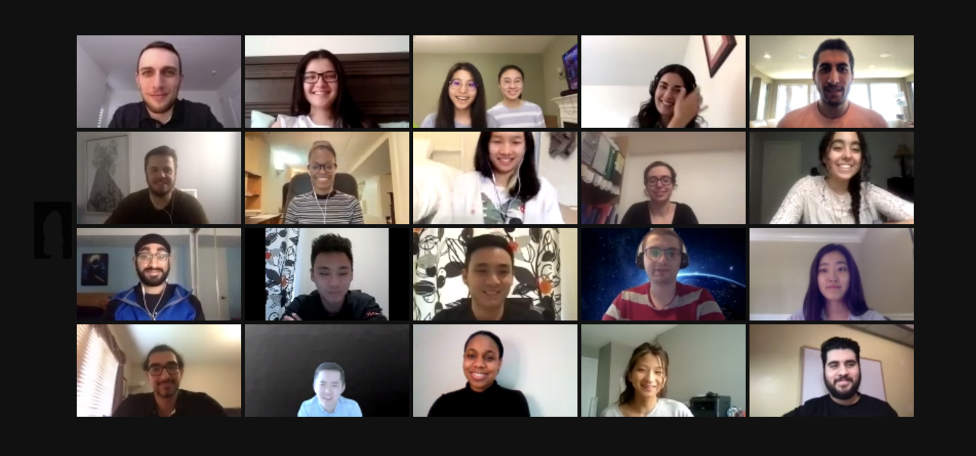 Smiling faces of participants in HackRx on a online call