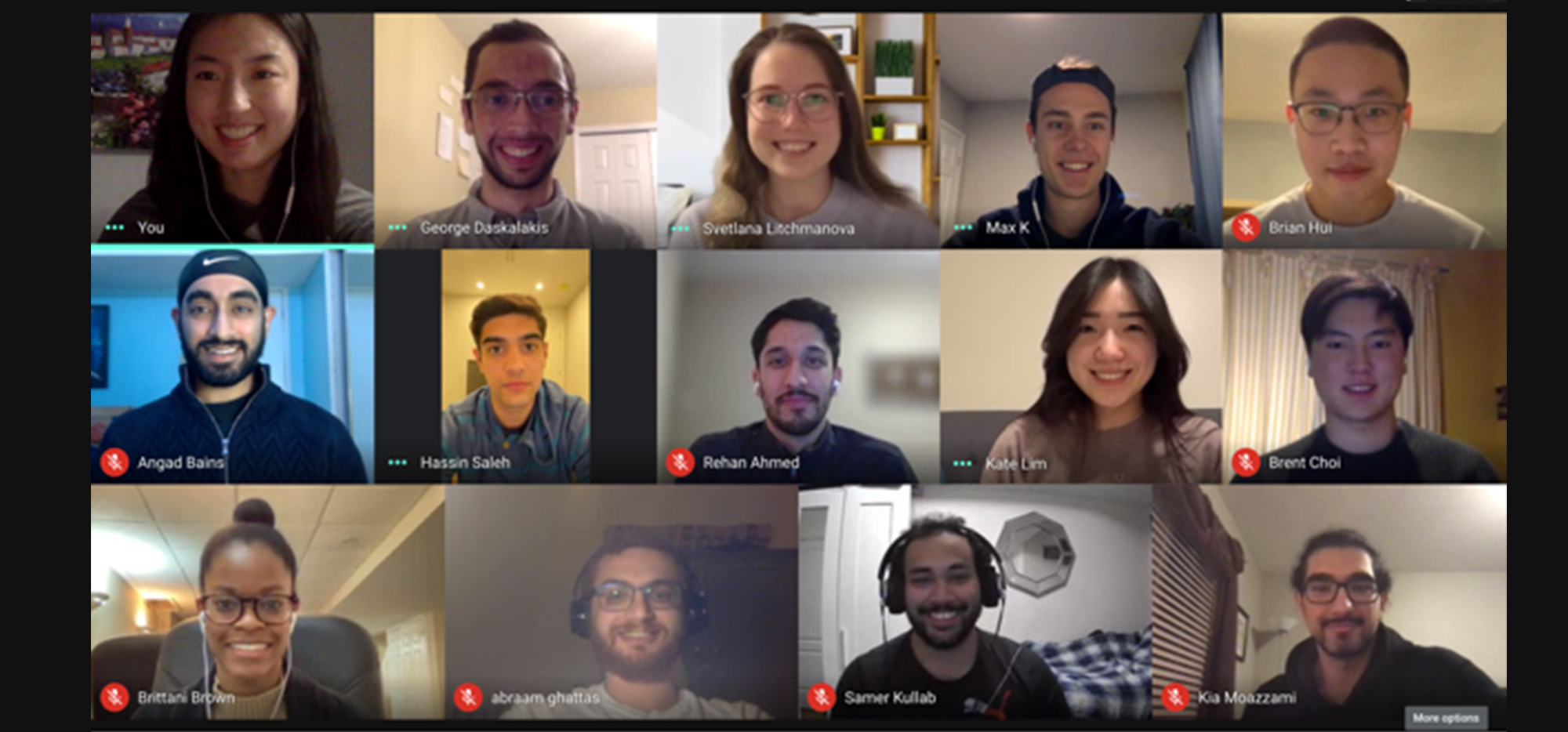 Smiling students on a Zoom call
