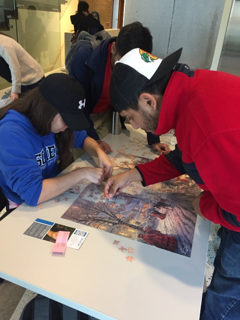 Students completing a puzzle
