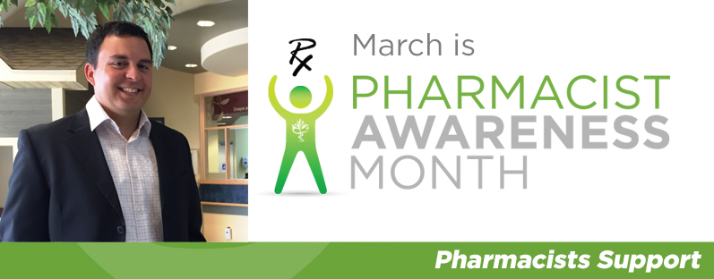 Marc André at the Community Health center. March is Pharmacist Awareness Month. Pharmacists Support.