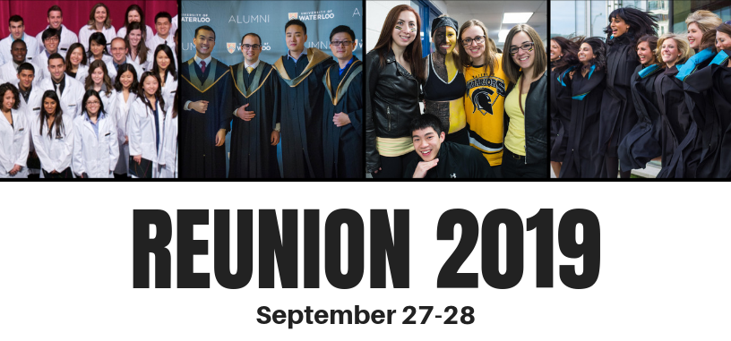 Reunion 2019, Sept 27-28. Pictures of smiling students.