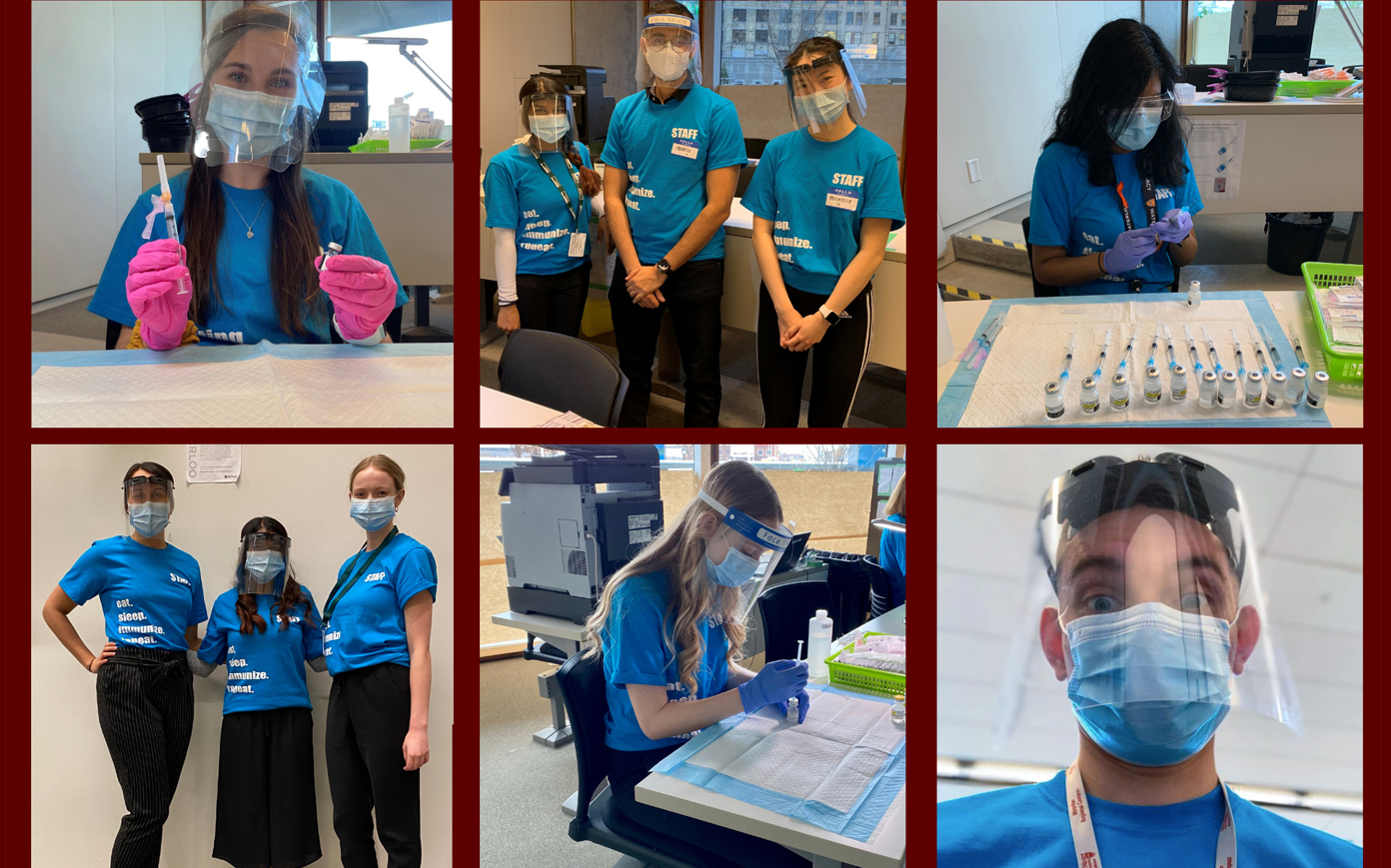 Students in different roles wearing PPE while workign at clinic