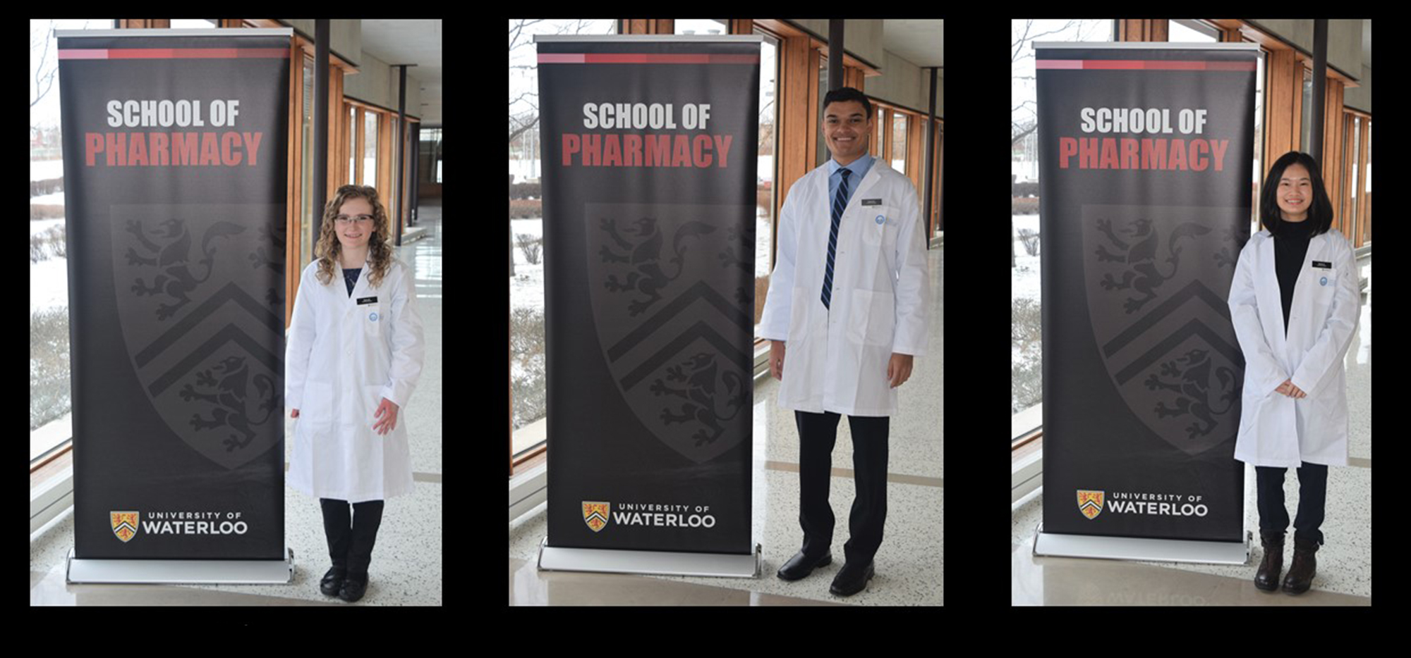 Three class of 2024 students standing in front of a banner in their new white coats