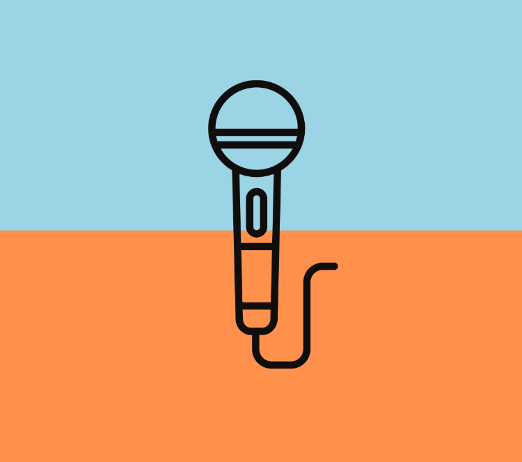 Line art of a microphone over blue and orange background
