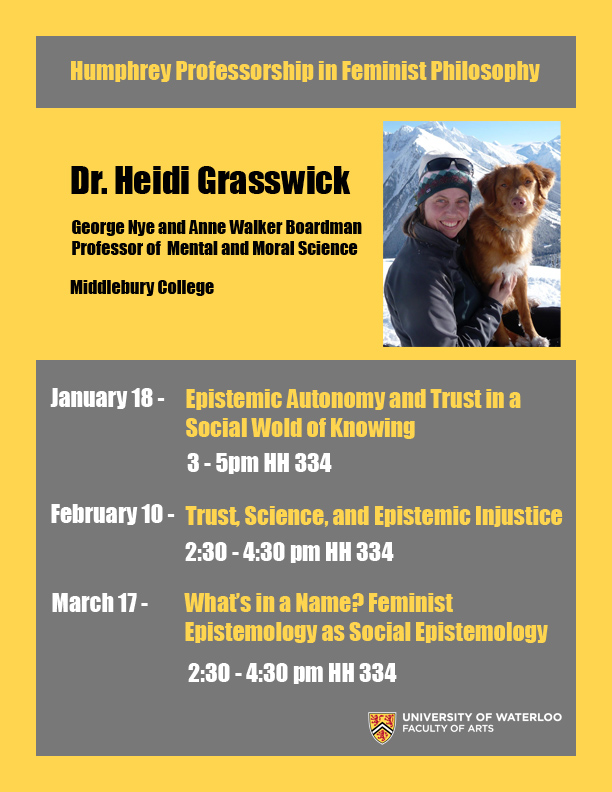 List of talks to be given by Dr. Heidi Grasswick