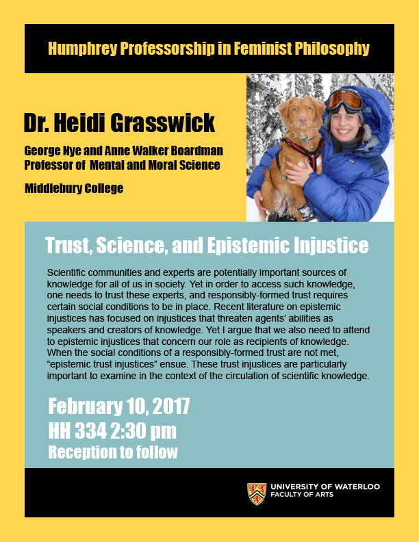 "Dr. Heidi Grasswick will be giving a lecture titled ""Trust, Science and Epistemic Injustice."""