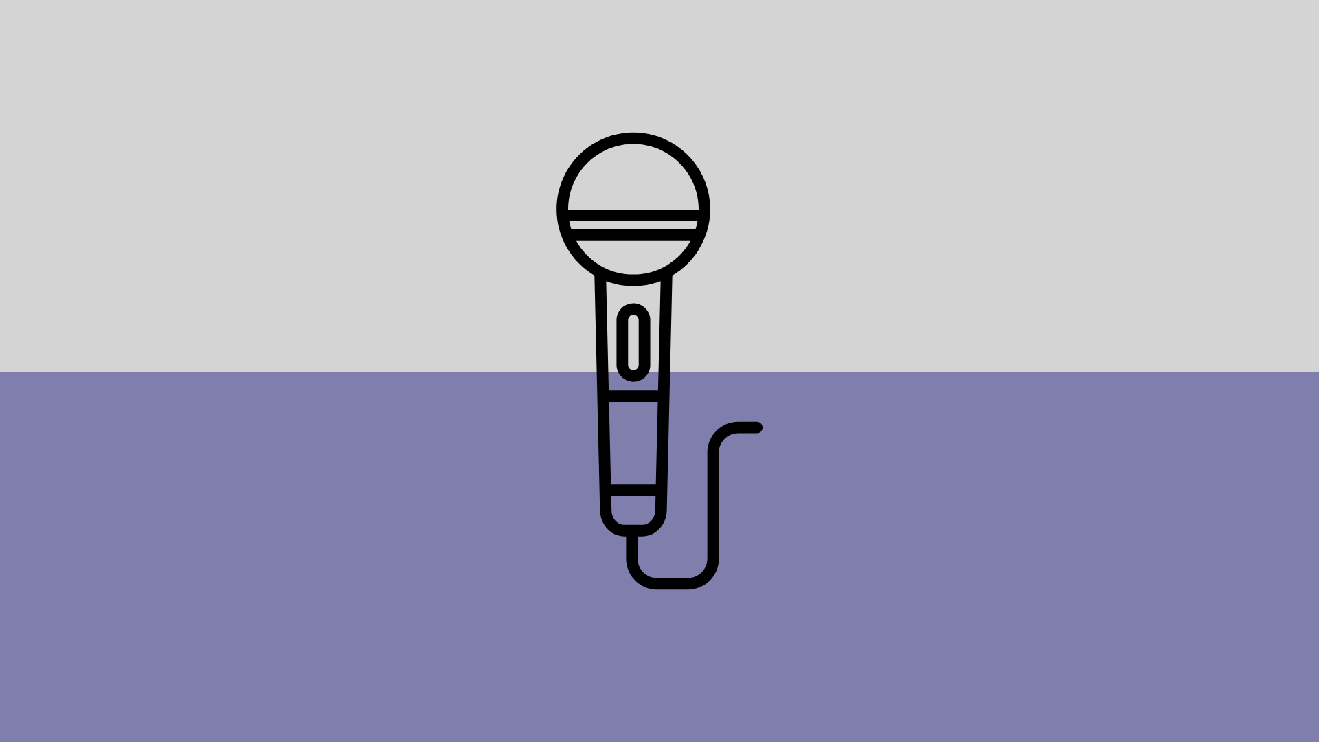 Line art of a microphone over purple and grey background