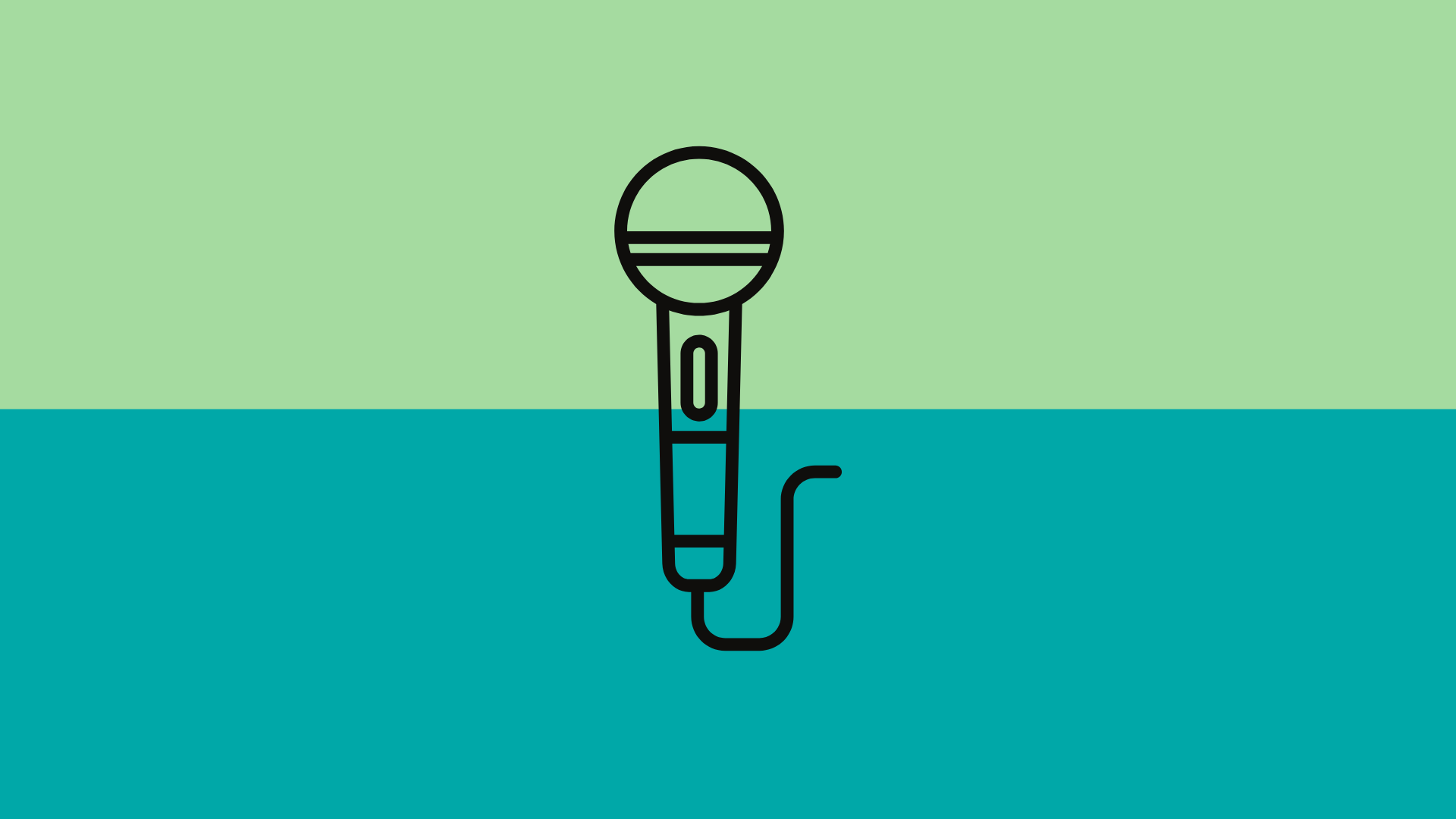 Line art of a microphone over a blue and green background