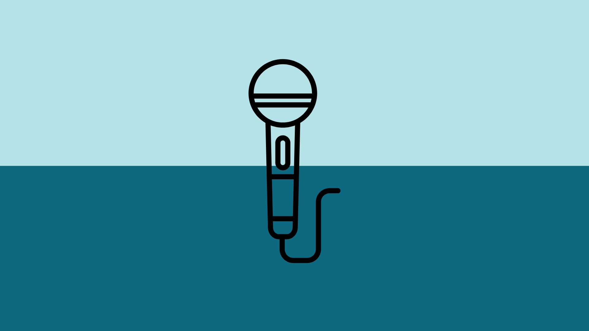 Line art of a microphone over a light blue and dark blue background