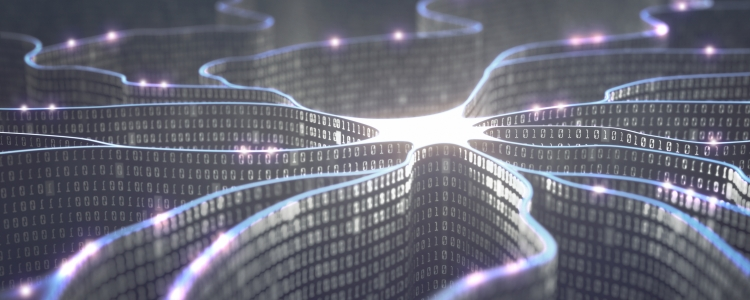 iStock image - ribbons of binary converging in a pool of light
