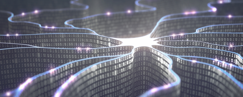 iStock image - ribbons of binary merging in a pool of light