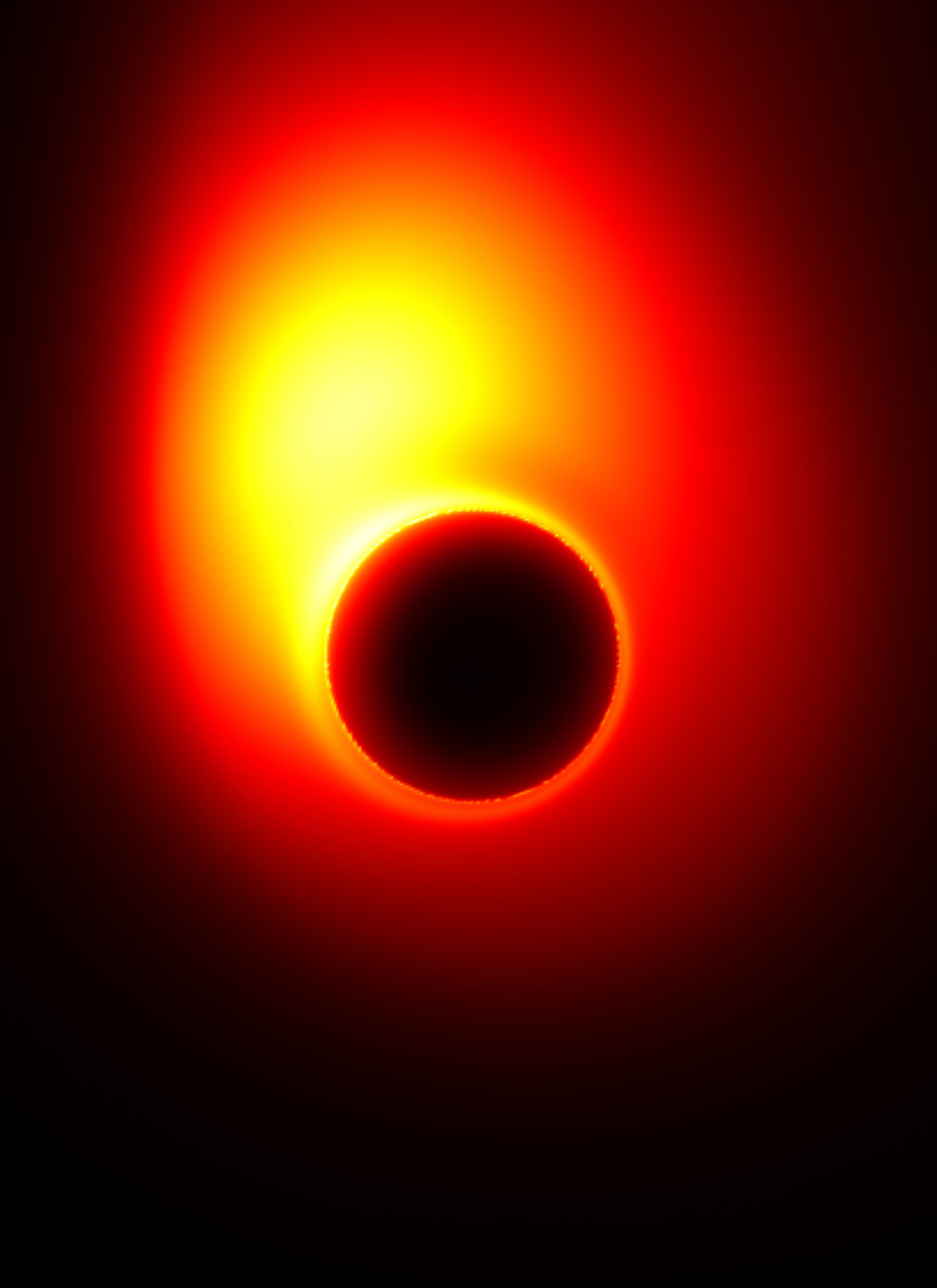 The extreme gravity of the black hole in M87 distorts the appearance of the jet near the event horizon.