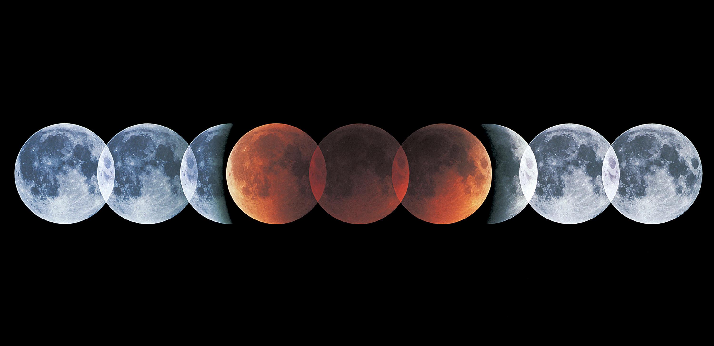 Lunar eclipse progression (Credit: Sky & Telescope / Akira Fujii)