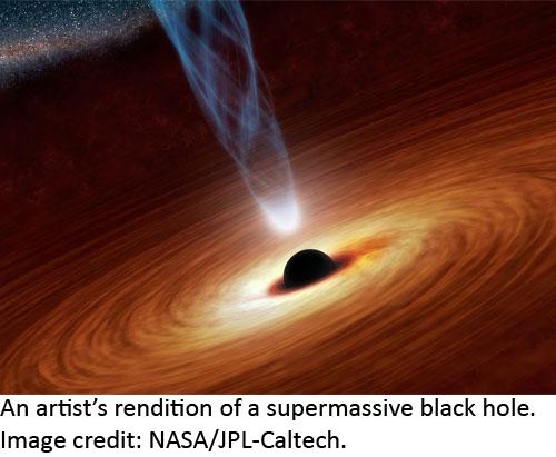 Artist's rendition of a supermassive black hole. Photo credit: NASA/JPL-Caltech.