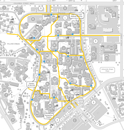 Campus map with priority walkways highlighted