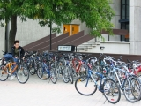 bicycle racks on campus