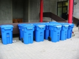 blue recycling boxes