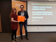 Recipient Sarah Howard and Prof Aaron Ettinger